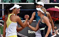 BOGOTÁ-COLOMBIA, 13-04-2019: Astra Sharma (AUS) y Zoe Hives (AUS), son felicitadas por Hayly Carter (USA) y Ena Shibahara (USA), al término partido por la final de dobles del Claro Colsanitas WTA, que se realiza en el Carmel Club en la ciudad de Bogotá. / Astra Sharma (AUS)  and Zoe Hives (AUS), are congratulate for Hayly Carter (USA) and Ena Shibahara (USA), at the end of the match for the doubles final of Claro Colsanitas WTA, which takes place at Carmel Club in Bogota city. / Photo: VizzorImage / Luis Ramírez / Staff.
