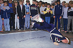 Breakdancing Stockport Lancashire. 1980s Britain. The area where teens performed was know at the Bear Pit in Mersey Square.