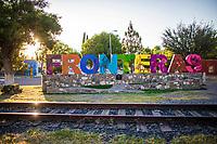 Monumental letters of colors in the community of Fronteras, Sonora, Mexico. Railroad train tracks. sunbeams at sunset 9 october 2020<br /> (Photo By Luis Gutierrez / Norte Photo)<br /> <br /> Letras Monumentales de colores en  la comunidad de Fronteras, Sonora, Mexico.  Vias de tren de ferrocarril.  rayos de sol al atardecer 9 cotubre 2020<br /> (Photo By Luis Gutierrez/Norte Photo)