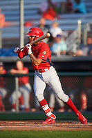 Williamsport Crosscutters shortstop Arquimedes Gamboa (4) squarest to bunt during a game against the Auburn Doubledays on June 25, 2016 at Falcon Park in Auburn, New York.  Auburn defeated Williamsport 5-4.  (Mike Janes/Four Seam Images)