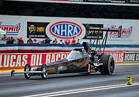 Aug 31, 2019; Clermont, IN, USA; NHRA top alcohol dragster driver Steve Collier during qualifying for the US Nationals at Lucas Oil Raceway. Mandatory Credit: Mark J. Rebilas-USA TODAY Sports