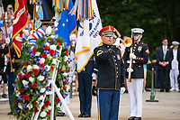 "A bugler from the U.S. Army Band, ""Pershing's Own,"" plays ""Taps"" as part of the Armed Forces Full Honors Wreath-Laying Ceremony in observance of Memorial Day at Arlington National Cemetery, Arlington, Virginia, May 27, 2019. This was the 151st annual Memorial Day Observation at Arlington National Cemetery. (U.S. Army photo by Elizabeth Fraser / Arlington National Cemetery / released)"