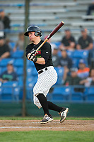 Nate Nolan (18) of the Great Falls Voyagers follows through on his swing against the Helena Brewers at Centene Stadium on August 19, 2017 in Helena, Montana.  The Voyagers defeated the Brewers 8-7.  (Brian Westerholt/Four Seam Images)