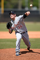 Detroit Tigers pitcher Logan Ehlers (36) during a minor league spring training game against the Houston Astros on March 21, 2014 at Osceola County Complex in Kissimmee, Florida.  (Mike Janes/Four Seam Images)
