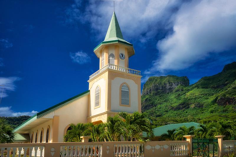 Faanui Protestant Church. Bora Bora. French Polynesia.
