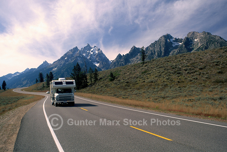 Grand Teton National Park, Wyoming, WY, USA - Teton Park Road and the Teton Range Mountains, Summer