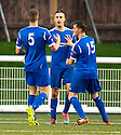 Preston's Sean Martin celebrates with Taylor Aitchison (15) and Ricky Ramsay (5) after he scores the equaliser.