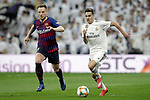 Real Madrid CF's Sergio Reguilon and FC Barcelona's Ivan Rakitic during the King's Cup semifinals match. February 27,2019. (ALTERPHOTOS/Alconada)