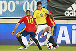 Spain's Jordi Alba (l) and Pedro Rodriguez (r) and Colombia's James Rodriguez during international friendly match. June 7,2017.(ALTERPHOTOS/Acero)