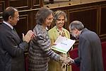 Former Queen Sofia of Spain attends the Inigo Alvrez de Toledo Awards ceremony with Pio Garcia-Escudero and Isabel Entero at Senado in Madrid, Spain. October 27, 2014. (ALTERPHOTOS/Victor Blanco)