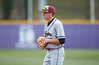 North Carolina Central Eagles first baseman Andrew Valichka (16) on defense against the High Point Panthers at Williard Stadium on February 28, 2017 in High Point, North Carolina. The Eagles defeated the Panthers 11-5. (Brian Westerholt/Four Seam Images)