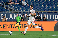 FOXBOROUGH, MA - MAY 22: Sean Nealis #15 of New York Red Bulls passes the ball back to the New York Red Bulls goalie during a game between New York Red Bulls and New England Revolution at Gillette Stadium on May 22, 2021 in Foxborough, Massachusetts.