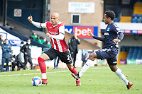 Jake Caprice of Exeter City heads for the by line under pressure from Ashley Nathaniel-George, Southend United during Southend United vs Exeter City, Sky Bet EFL League 2 Football at Roots Hall on 10th October 2020
