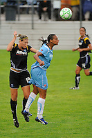 Martina Franko (19) of the Los Angeles Sol and Rosana (11) of Sky Blue FC go up for a header during a Women's Professional Soccer match at Yurcak Field in Piscataway, NJ, on June 13, 2009.