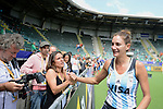 The Hague, Netherlands, June 14: Luciana Aymar #8 of Argentina celebrates after winning the field hockey bronze medal match (Women) between USA and Argentina on June 14, 2014 during the World Cup 2014 at Kyocera Stadium in The Hague, Netherlands. Final score 2-1 (2-1)  (Photo by Dirk Markgraf / www.265-images.com) *** Local caption ***