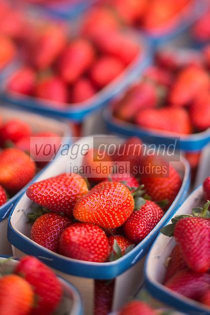 Europe/France/Provence-Alpes-Côte d'Azur/Alpes-Maritimes/Cannes: Marché Forville: Fraises de Carpentras //  //    Europe, France, Provence-Alpes-Côte d'Azur, Alpes-Maritimes, Cannes:  Forville market Carpentras strawberries