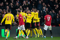 Celebrations after Ismaïla Sarr of Watford scores the first goal during the Premier League match between Watford and Manchester United at Vicarage Road, Watford, England on 22 December 2019. Photo by Andy Rowland.