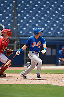GCL Mets third baseman Kenny Hernandez (5) follows through on a swing during the second game of a doubleheader against the GCL Nationals on July 22, 2017 at The Ballpark of the Palm Beaches in Palm Beach, Florida.  GCL Mets defeated the GCL Nationals 4-1.  (Mike Janes/Four Seam Images)