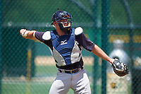 GCL Yankees East catcher Aaron Bossi (28) warms up on a side field during a game against the GCL Pirates on August 15, 2016 at the Pirate City in Bradenton, Florida.  GCL Pirates defeated GCL Yankees East 5-2.  (Mike Janes/Four Seam Images)