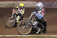 Heat 6: Kim Nilsson (white) and Chris Harris (yellow) - Lee Richardson Memorial Speedway Meeting at Arena Essex Raceway, Purfleet - 28/09/12 - MANDATORY CREDIT: Gavin Ellis/TGSPHOTO - Self billing applies where appropriate - 0845 094 6026 - contact@tgsphoto.co.uk - NO UNPAID USE.