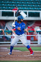 Ogden Raptors shortstop Ronny Brito (5) at bat during a Pioneer League game against the Orem Owlz at Home of the OWLZ on August 24, 2018 in Orem, Utah. The Ogden Raptors defeated the Orem Owlz by a score of 13-5. (Zachary Lucy/Four Seam Images)