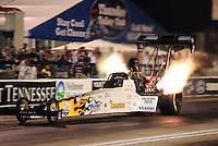 Jun. 17, 2011; Bristol, TN, USA: NHRA top fuel driver Chris Karamesines during qualifying for the Thunder Valley Nationals at Bristol Dragway. Mandatory Credit: Mark J. Rebilas-