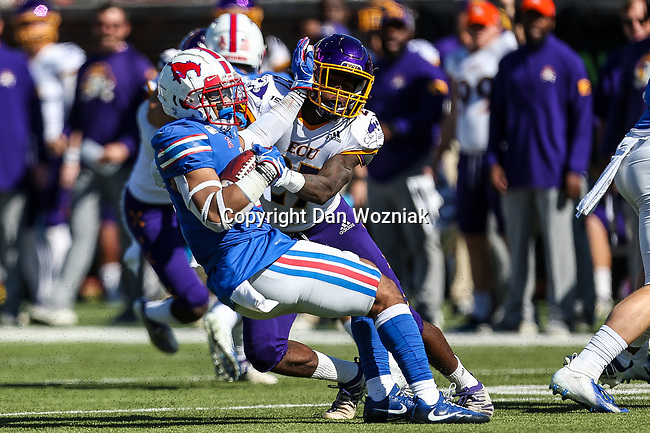 Southern Methodist Mustangs running back Xavier Jones (5) in action during the game between the East Caroline Pirates  and the SMU Mustangs at the Gerald J. Ford Stadium in Fort Worth, Texas.