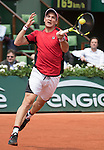May 26,2016:   Fecundo Bagnis (ARG) loses to Rafael Nadal (ESP) 6-3 in the first, at the Roland Garros being played at Stade Roland Garros in Paris, .  ©Leslie Billman/Tennisclix