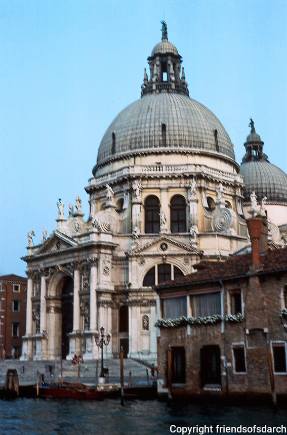 """Venice:  Santa Maria Della Salute, 17th  century.  Octagonal plan, Longhena.  Baroque style.   """" An absolute novelty and break from Palladian tradition.""""  Photo '83."""