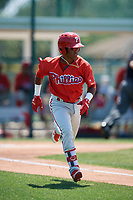 Philadelphia Phillies Luis Garcia (5) during a Minor League Extended Spring Training game against the Pittsburgh Pirates on May 3, 2018 at Pirate City in Bradenton, Florida.  (Mike Janes/Four Seam Images)
