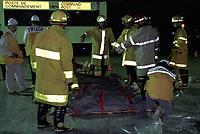 FILE - simulation d'accident avec matieres dangereuses (haz mat)<br />  a Mirabel<br />  dans les annees 90  (date inconnue)<br /> <br /> <br /> PHOTO  :  Agence Quebec Presse