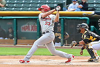 Stephen Piscotty (33) of the Memphis Redbirds at bat against the Salt Lake Bees at Smith's Ballpark on June 18, 2014 in Salt Lake City, Utah.  (Stephen Smith/Four Seam Images)