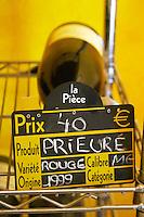 Prieure wine for sale. Prieure de St Jean de Bebian. Pezenas region. Languedoc. The wine shop and tasting room. France. Europe.