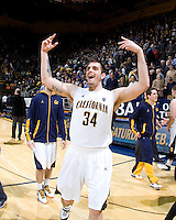 Robert Thurman of California celebrates after winning the game against Oregon at Haas Pavilion in Berkeley, California on February 16th, 2012.  California defeated Oregon, 86-83.