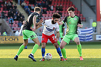 Sam Deering of Dagenham and Connor Dimaio of Stockport during Dagenham & Redbridge vs Stockport County, Vanarama National League Football at the Chigwell Construction Stadium on 8th February 2020