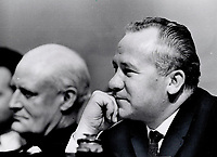 1967 FILE -<br /> <br /> Three premiers with three different problems, Daniel Johnson, left, of Quebec, E. C. Manning, top right, of Alberta, and Louis Robichaud of New Brunswick, had say at Confederation of Tomorrow. Johnson wants bi-national Canada, Manning doesn't, Robichaud asked solution to national calamity in Maritimes.<br /> <br /> 1967<br /> <br /> PHOTO :  Frank Lennon - Toronto Star Archives - AQP