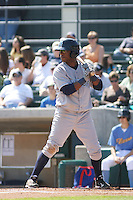 Wilmington Blue Rocks second baseman Rey Navarro #28 at bat against the Myrtle Beach Pelicans at BB&T Coastal Field in Myrtle Beach, South Carolina on April 10, 2011.   Photo By Robert Gurganus/Four Seam Images