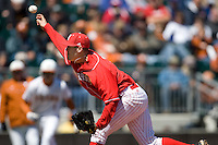 Nebraska Cornhusker pitcher Khris Tate against Texas on Sunday March 21st, 2100 at UFCU Dish-Falk Field in Austin, Texas.  (Photo by Andrew Woolley / Four Seam Images)