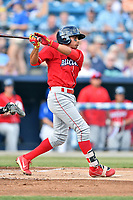 Lakewood BlueClaws second baseman Raul Rivas (15) swings at a pitch during a game against the  Asheville Tourists at McCormick Field on June 3, 2017 in Asheville, North Carolina. The Tourists defeated the BlueClaws 10-7. (Tony Farlow/Four Seam Images)