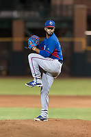 AZL Rangers relief pitcher Luis Rosario (76) delivers a pitch during an Arizona League game against the AZL Giants Black at Scottsdale Stadium on August 4, 2018 in Scottsdale, Arizona. The AZL Giants Black defeated the AZL Rangers by a score of 6-3 in the second game of a doubleheader. (Zachary Lucy/Four Seam Images)