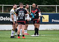 Paulos Latu of London Broncos after the final whistle during the Betfred Challenge Cup match between London Broncos and York City Knights at The Rock, Rosslyn Park, London, England on 28 March 2021. Photo by Liam McAvoy.