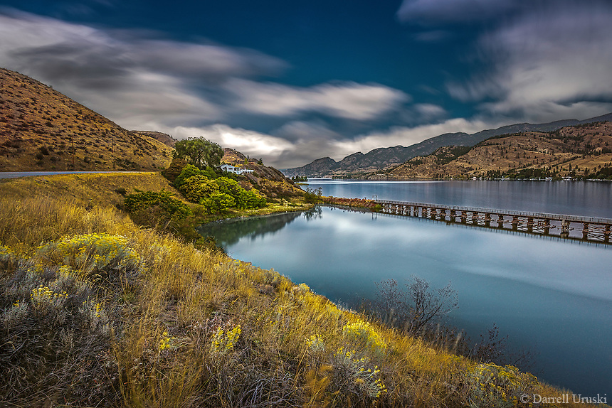 Fine Art Print Mountain and Lake Scenic of a calm blue lake nestled amongst the mountains in the south Okanagan of British Columbia Canada
