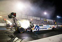 Oct 3, 2020; Madison, Illinois, USA; NHRA top fuel driver Leah Pruett during qualifying for the Midwest Nationals at World Wide Technology Raceway. Mandatory Credit: Mark J. Rebilas-USA TODAY Sports