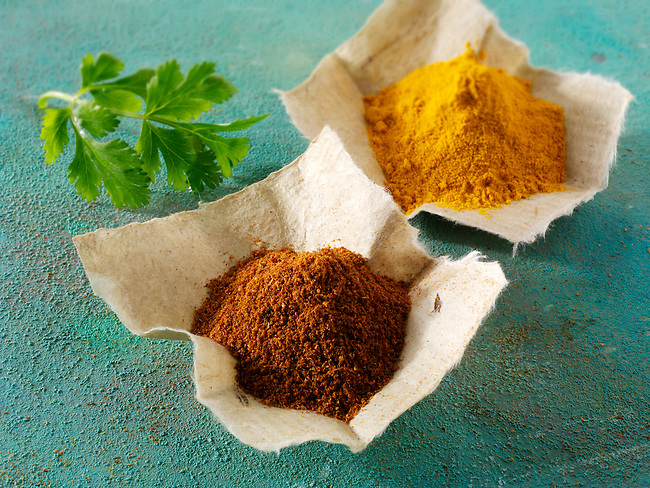 Ground chilli powder spice & ground turmeric
