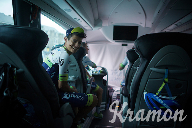 Johan Esteban Chaves (COL/Orica-GreenEDGE) is very much looking forward to get on his bike<br /> <br /> 101th Liège-Bastogne-Liège 2015