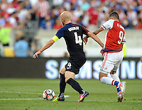 Philadelphia, PA - June 11, 2016: USA midfielder Michael Bradley (10) and Paraguay forward Antonio Sanabria (9) during a Copa America Centenario Group A match between United States (USA) and Paraguay (PAR) at Lincoln Financial Field.
