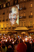 Following the Nobel Peace Prize ceremony Amnesty International arranged a torch parade where torch bearers paid tribute to the absent Liu Xiaobo. The Norwegian Nobel Committee decided to award.the Nobel Peace Prize for 2010 to Liu Xiaobo. Leader of the Norwegian Nobel Committee Thorbjørn Jagland elaborated on their decision to award the prize to Xiaobo during the ceremony in Oslo Town Hall. .Liu Xiaobo is imprisoned and no immediate family was permitted to leave China to accept the prize. ..Photo: Fredrik Naumann/Felix Features
