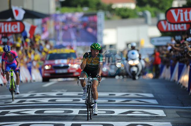 Thomas Voeckler (FRA) Team Europcar wins Stage 10 of the 99th edition of the Tour de France 2012, running 194.5km from Macon to Bellegarde-sur-Valserine, France. 11th July 2012.<br /> (Photo by Tim de Waele/ASO/NEWSFILE)