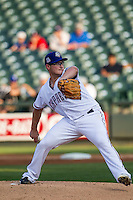 Round Rock Express starting pitcher Matt West (45) delivers a pitch to the plate during the second game of a Pacific Coast League doubleheader against the Memphis Redbirds on August 3, 2014 at the Dell Diamond in Round Rock, Texas. The Redbirds defeated the Express 7-6. (Andrew Woolley/Four Seam Images)