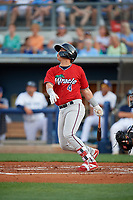 Fort Myers Miracle Jose Miranda (4) at bat during a Florida State League game against the Charlotte Stone Crabs on April 6, 2019 at Charlotte Sports Park in Port Charlotte, Florida.  Fort Myers defeated Charlotte 7-4.  (Mike Janes/Four Seam Images)
